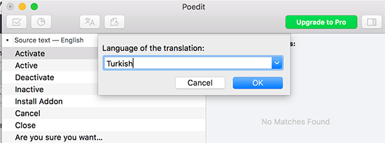 Choose language for your translation