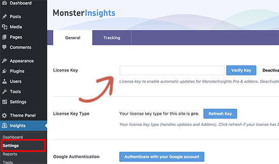 MonsterInsights license key