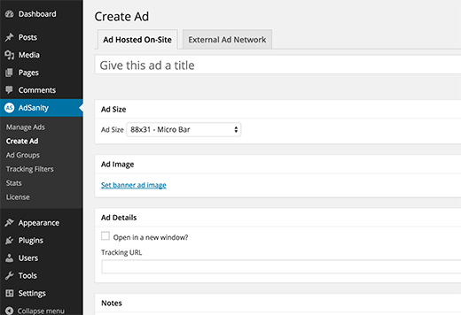 Create new ad in AdSanity