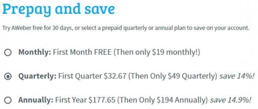 Choose AWeber free trial, or prepay to save more