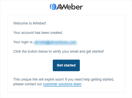 Email confirmation message from AWeber