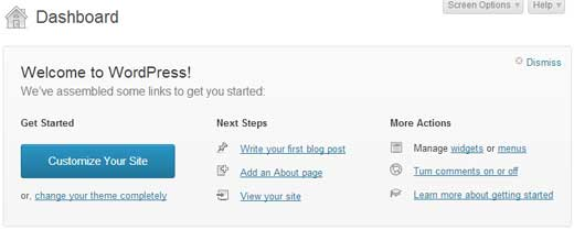 WordPress 3.5 New Welcome Screen