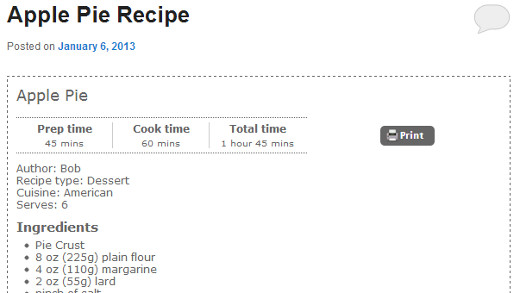 Recipe display style