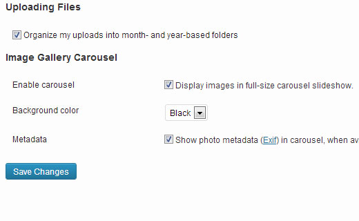 Configuration options for Carousel Image Gallery plugin