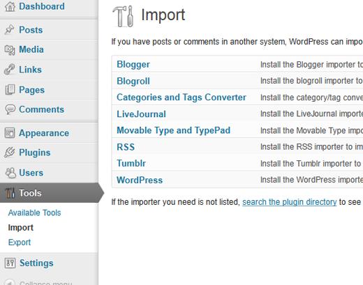 Import Tools Screen
