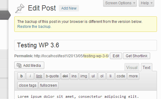 WordPress 3.6 Autosave feature utilizes browser storage to autosave posts