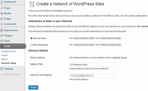 Setting up a WordPress Multisite Network