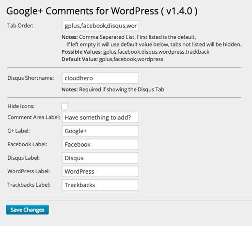 Configuring Google+ Comments settings in WordPress