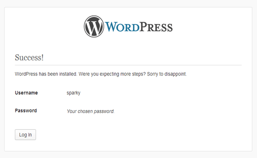 WordPress installation success message