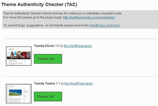 Theme Authenticity Checker showing results