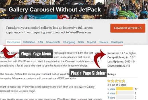 A plugin page in WordPress plugin directory