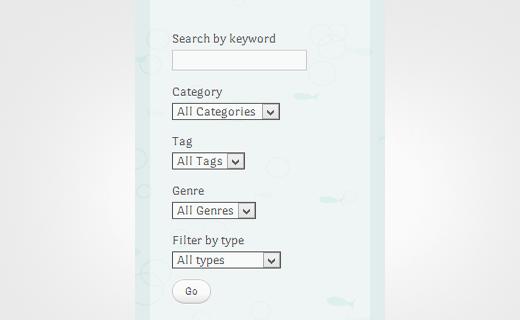 An advanced search form in WordPress
