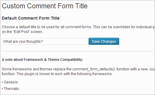 Changing comment form title in WordPress