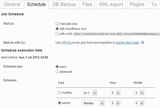 Scheduling automatic backups in WordPress using BackWPup