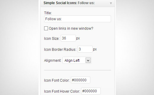 Setting up simple social icons widget