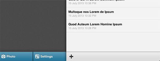 Instellingen en foto's knoppen aan de onderkant van het hoofdmenu in WordPress app voor iPhone en iPad
