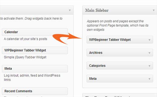 Drag and drop WPBeginner Tabber Widget into your Sidebar