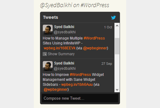 Showing tweets by a user on specific keyword or hashtag