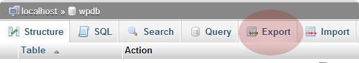 Export tab in phpMyAdmin