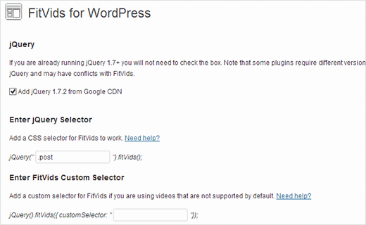 FitVids for WordPress plugin settings