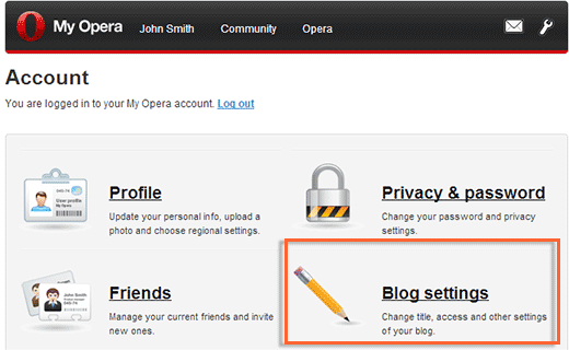 My Opera blog settings under Account
