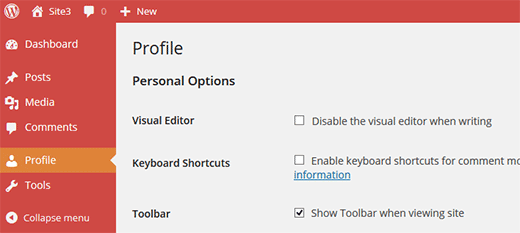 Admin color scheme option removed from user profiles in WordPress