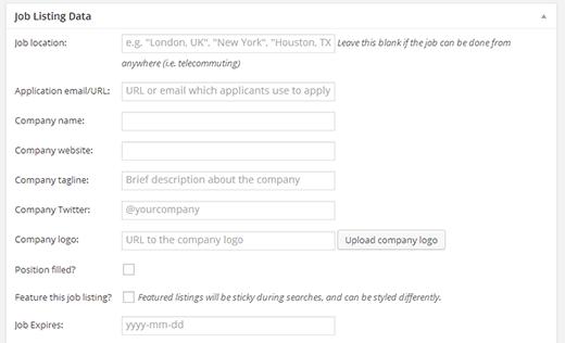 Job listing information