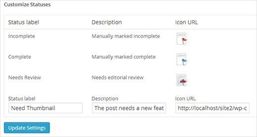 Adding custom post status and icon
