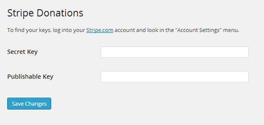 Configure Stripe Donations to use your Stripe API Keys