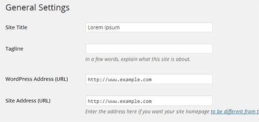 تنظیمات وردپرس و آدرس سایت