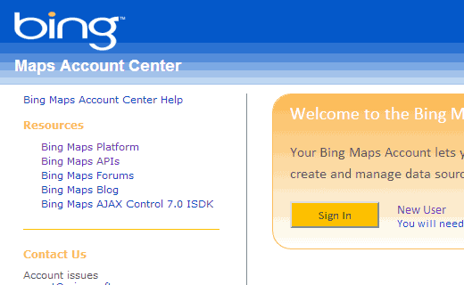 Creating an account for Bing Maps API Key