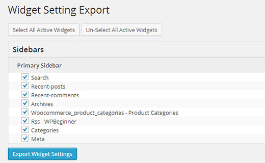 Exporting widget settings