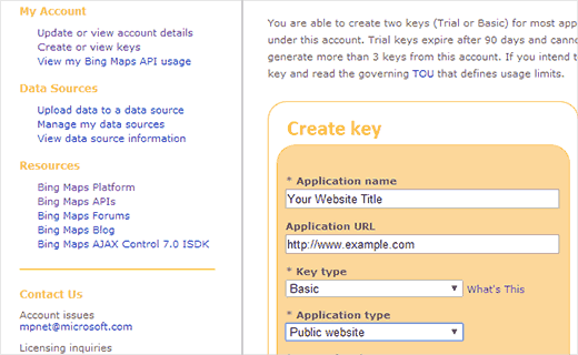 Creating a Bing API Key for your Website