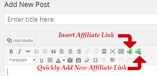Insert or Add Affiliate Links from Post Editor in WordPress