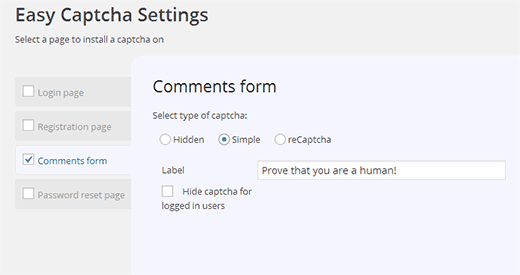 Easy Captcha Settings