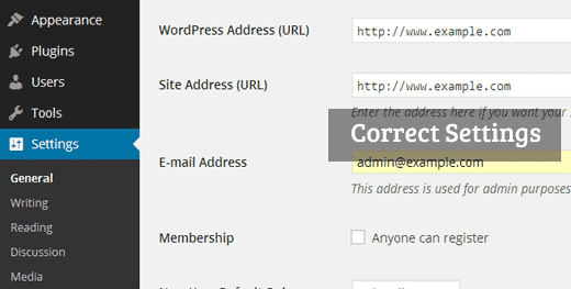 Correct WordPress URL Settings