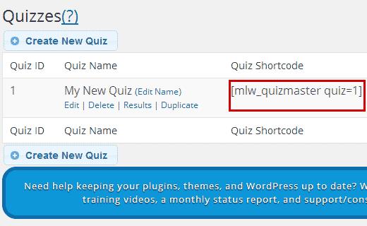 Adding quiz shortcode