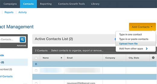 Adding email addresses in Constant Contact
