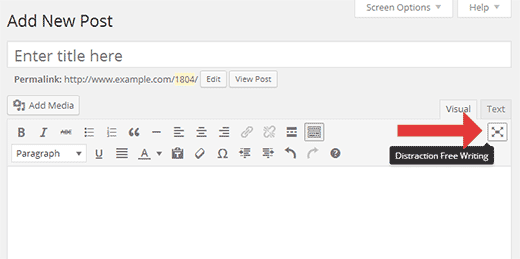 Launching full screen distraction free writing mode in WordPress