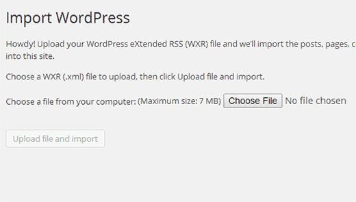 Uploadd WordPress exportbestand dat je eerder hebt gedownload