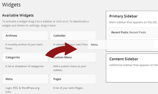 Adding meta widget to a sidebar in WordPress