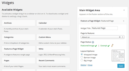 Feature a page in WordPress widget settings