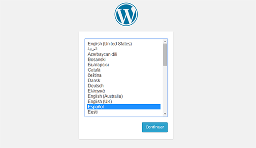 WordPress allows you to select language during installation