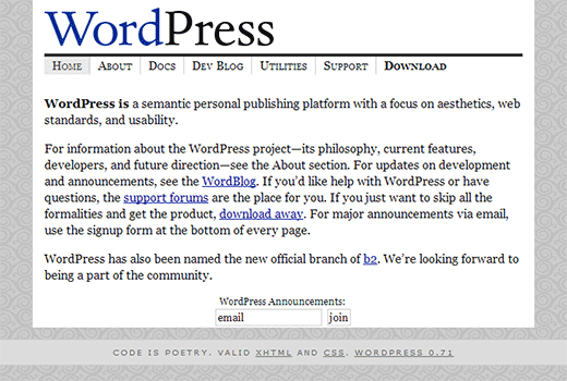 WordPress.org homepage in 2003