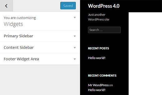 Widgets in Theme Customizer