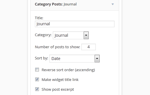 Category posts widget for WordPress