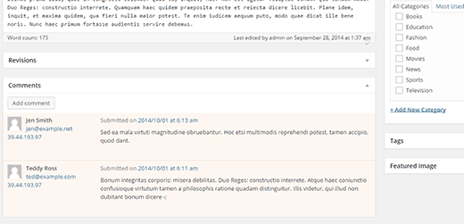 Moderating comments for a post in admin area