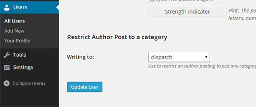 Restrict author to a category