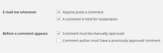 Commentaar e-mail en handmatige goedkeuring instellingen