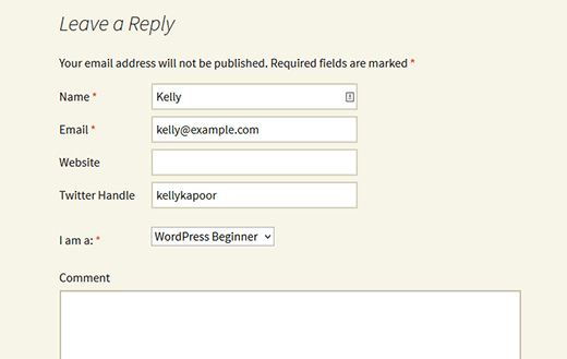 Custom fields in WordPress comment form